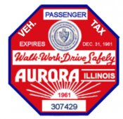 1961 IL Tax/Inspection Sticker AURORA
