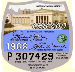 1968 Illinois tax/Inspection sticker CHICAGO