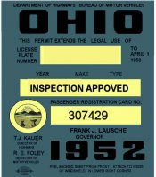1952 Ohio Registration Sticker Cars