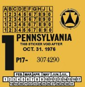 1976-1 Pennsylvania INSPECTION Sticker
