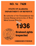 1936 Alabama inspection sticker