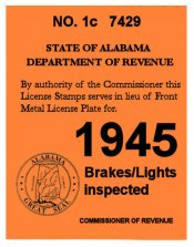 1945 Alabama Registration Sticker