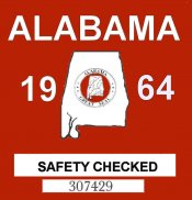 1964 Alabama Safety Checked Sticker