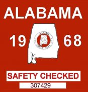 1968 Alabama Safety check Sticker