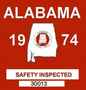 1974 Alabama Safety Check Sticker