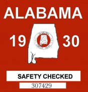 1930 Alabama Safety Check Sticker
