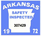 1972 Arkansas Inspection Sticker