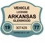 1977 Arkansas Registration Sticker GLENWOOD