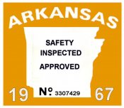 1967 Arkansas Inspection Sticker