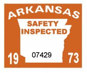 1973 Arkansas Inspection sticker