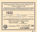 1932 California Inspection Sticker
