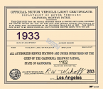 1933 California Inspection sticker