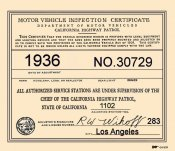 1936 California Inspection sticker