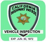 1972 -6 California Inspection Sticker