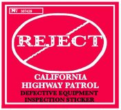 1960's California REJECTION sticker RED