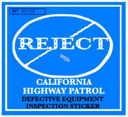 1960s California REJECTION Sticker BLUE