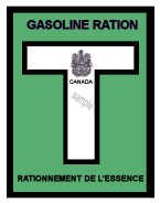 1944-45T Gas Ration Sticker CANADA
