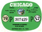 1952 Illinois Tax/inspection sticker CHICAGO