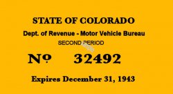 1943 Colorado Inspection Sticker 2nd Period