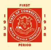1938 Connecticut INSPECTION Sticker