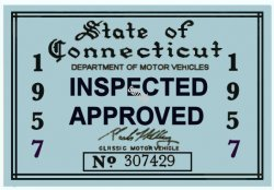 1957 Connecticut Inspection Sticker