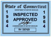 1964 Connecticut Inspection Sticker