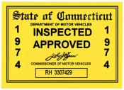1974 Connecticut Inspection sticker