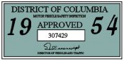 1954 District of Columbia Inspection sticker