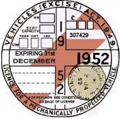 England 1952 Inspecton/Tax sticker