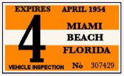 1954 Florida Inspection Sticker (Miami Beach)