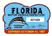 1957 Florida Safety Check Inspection Sticker