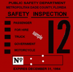 1964 Florida Dade County inspection sticker