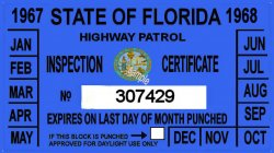 1967-68 Florida Inspection sticker