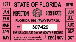 1970-71 Florida inspection sticker