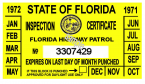 1971-72 Florida Inspection Sticker