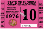 1976 FLORIDA Inspection Sticker
