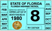 1980 Florida Inspection Sticker