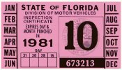 1981 Florida Inspection Sticker