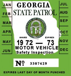 1972 Georgia Inspection Sticker