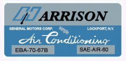 Chevrolet GM HARRISON Air Conditioned sticker 1970s