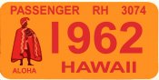 1962 Hawaii Registration sticker