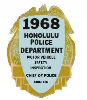 1968 Hawaii inspection sticker HONOLULU