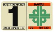 1971-72 Hawaii Inspection Sticker