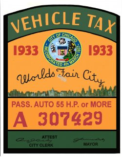 1933 ILTax registration sticker CHICAGO