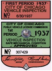 1937 Illinois Tax/Inspection Sticker 1st (Chicago)