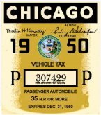 1950 Illinois Tax/Inspection sticker (CHICAGO)