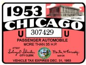 1953 Illinois Tax/inspection sticker CHICAGO