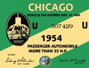1954 Illinois Tax Inspection sticker CHICAGO