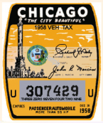 1958 Illinois tax/inspection sticker CHICAGO