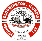 1967-68 Illinois Auto Tax sticker (BLOOMINGTON)